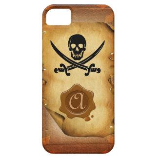 SKULL CROSSED SWORDS  MONOGRAM wax seal parchment iPhone 5 Case