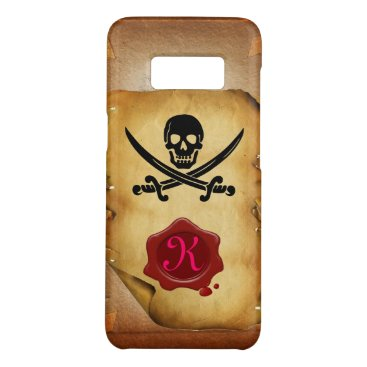 Halloween Themed SKULL CROSSED SWORDS  MONOGRAM wax seal parchment Case-Mate Samsung Galaxy S8 Case