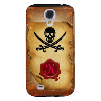 SKULL CROSSED SWORDS  MONOGRAM wax seal parchment Galaxy S4 Cover