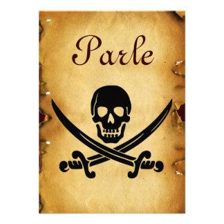 SKULL CROSSED SWORDS MONOGRAM wax seal parchment Announcement