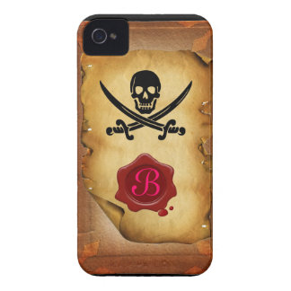 SKULL CROSSED SWORDS  MONOGRAM wax seal parchment iPhone 4 Covers