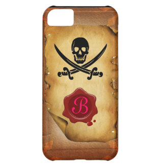 SKULL CROSSED SWORDS  MONOGRAM wax seal parchment iPhone 5C Cover