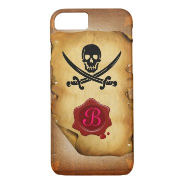 Halloween Themed SKULL CROSSED SWORDS  MONOGRAM wax seal parchment iPhone 8/7 Case