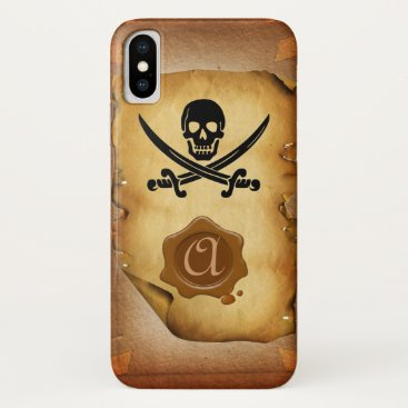 Halloween Themed SKULL CROSSED SWORDS  MONOGRAM wax seal parchment iPhone X Case
