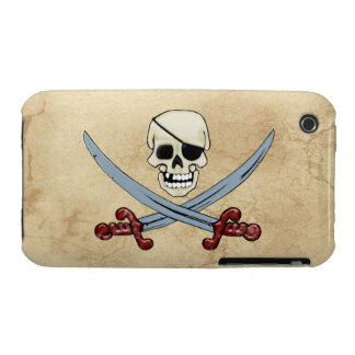 Skull & Crossed Swords & Parchment effect Case-Mate iPhone 3 Case
