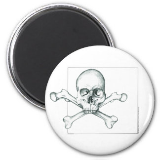 Skull & Crossed Thigh Bones 2 Inch Round Magnet