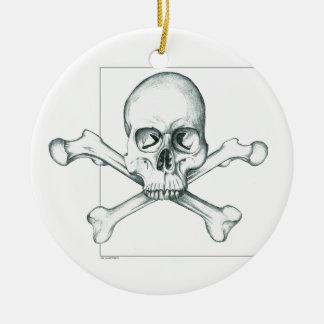 Skull & Crossed Thigh Bones Ceramic Ornament