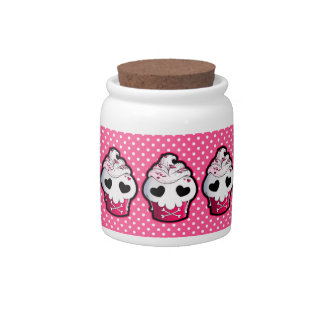 Skull Cupcake Cookie Jar Candy Dishes