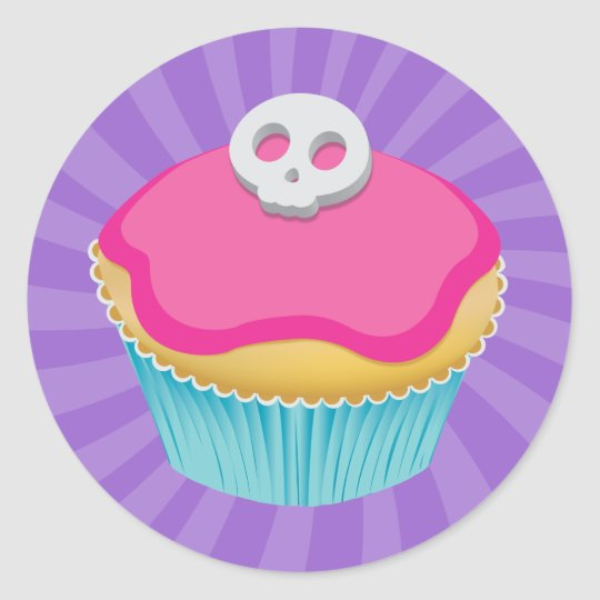 Skull Cupcake (pink) - Sticker