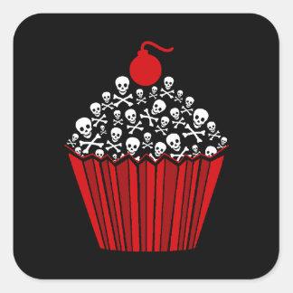 Skull Cupcake Square Sticker