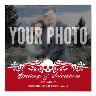 Skull Custom Photo Holiday Red 5.25x5.25 Square Paper Invitation Card