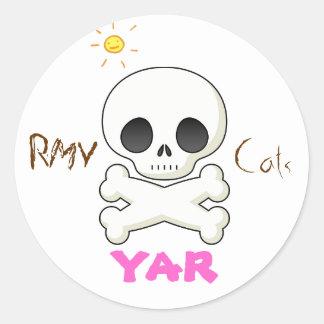 skull cute, speech bubble, sun, RMV, Cats, yar Classic Round Sticker