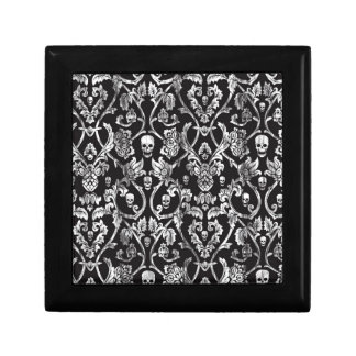Skull damask in black and white. jewelry box