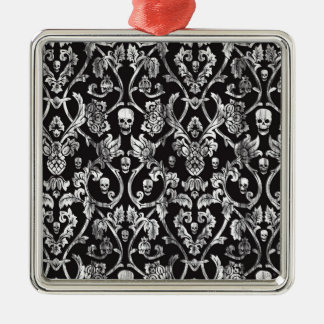 Skull damask in black and white. metal ornament