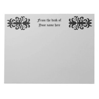 Skull damask on gray note pads