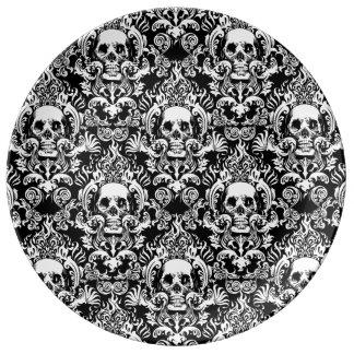 Skull Damask Plate Porcelain Plate