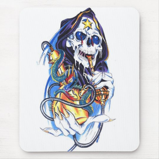 skull death bong mouse pad