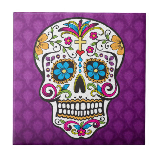 skull decorated small square tile