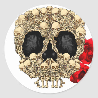 Skull Design - Pyramid of Skulls and Roses Classic Round Sticker