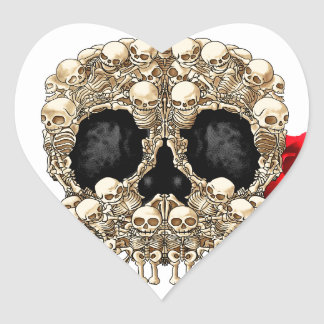 Skull Design - Pyramid of Skulls and Roses Heart Sticker
