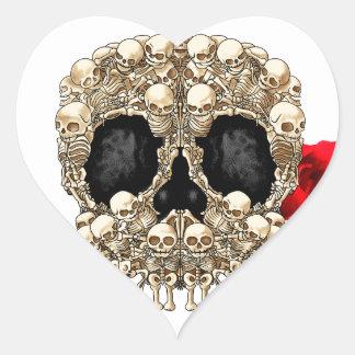 Skull Design - Pyramid of Skulls and Roses Heart Sticker