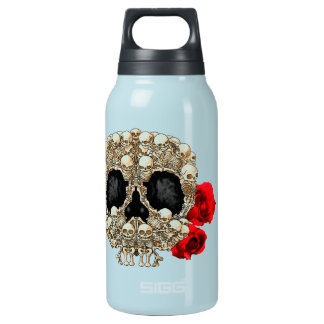 Skull Design - Pyramid of Skulls and Roses Insulated Water Bottle