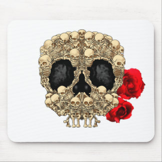 Skull Design - Pyramid of Skulls and Roses Mouse Pad