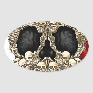Skull Design - Pyramid of Skulls and Roses Oval Sticker