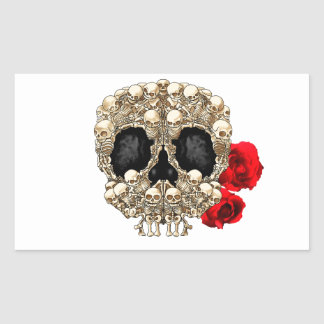 Skull Design - Pyramid of Skulls and Roses Rectangular Sticker