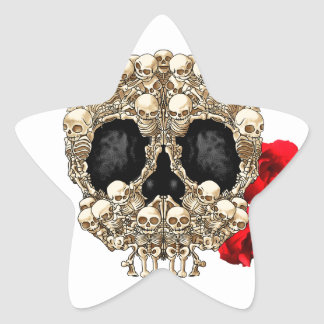 Skull Design - Pyramid of Skulls and Roses Star Sticker