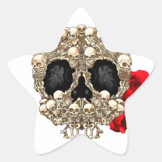 Skull Design - Pyramid of Skulls and Roses Star Stickers