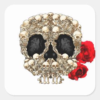 Skull Design - Pyramid of Skulls and Roses Sticker