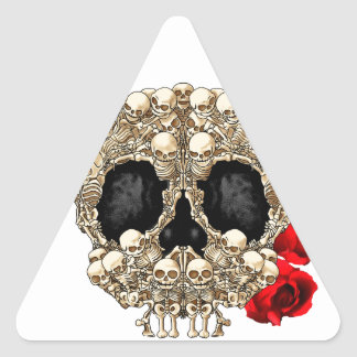 Skull Design - Pyramid of Skulls and Roses Triangle Sticker