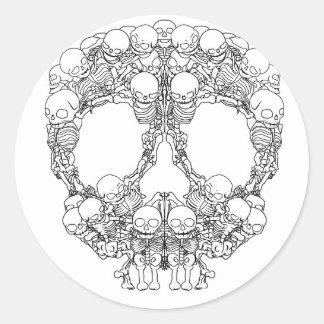 Skull Design - Pyramid of Skulls Classic Round Sticker