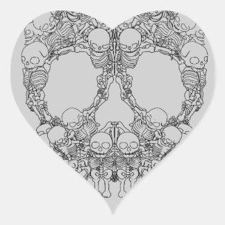 Skull Design - Pyramid of Skulls Heart Sticker