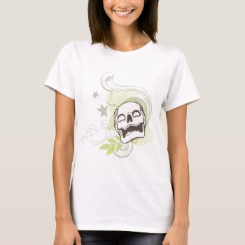 Skull Design with Decorative Maple Leaves T-Shirt