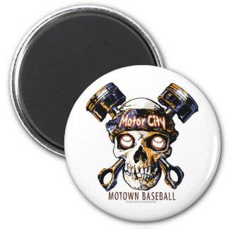Skull Detroit Baseball Magnet