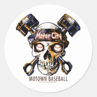Skull Detroit Baseball Sticker