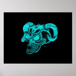 Skull Devil Head Black and Green Design Poster