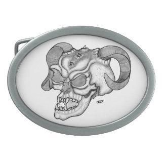 Skull Devil head Black and white Design Belt Buckle