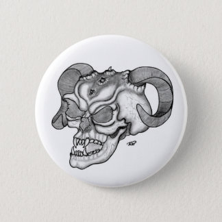 Skull Devil head Black and white Design Button
