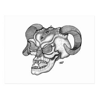 Skull Devil head Black and white Design Postcard