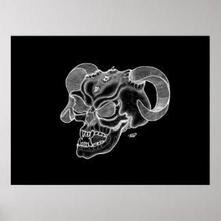 Skull Devil Head Black and White Design Poster