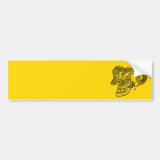 Skull Devil head Black and Yellow Design Bumper Sticker