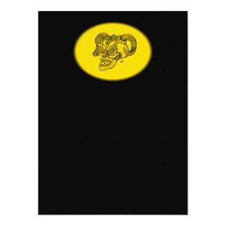 Skull Devil Head Black and Yellow Design Card