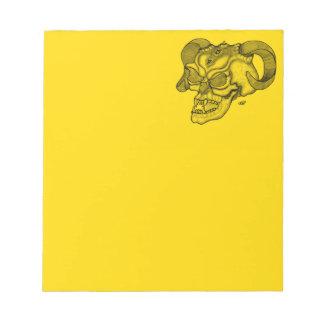 Skull Devil head Black and Yellow Design Notepad
