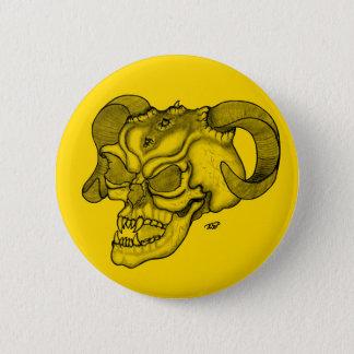 Skull Devil head Black and Yellow Design Pinback Button