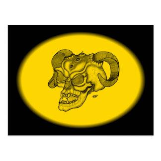 Skull Devil Head Black and Yellow Design Postcard