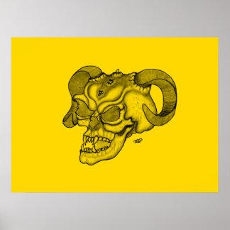 Skull Devil Head Black and Yellow Design Poster