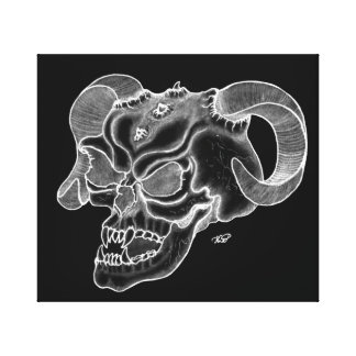 Skull devil head black knows design canvas print